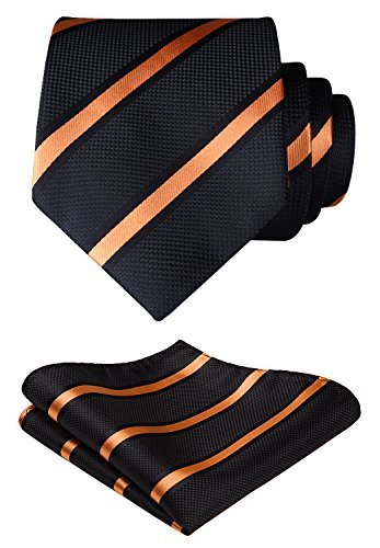 HISDERN Striped Wedding Tie Handkerchief Woven Classic Men's Necktie & Pocket Square Set Orange & Black