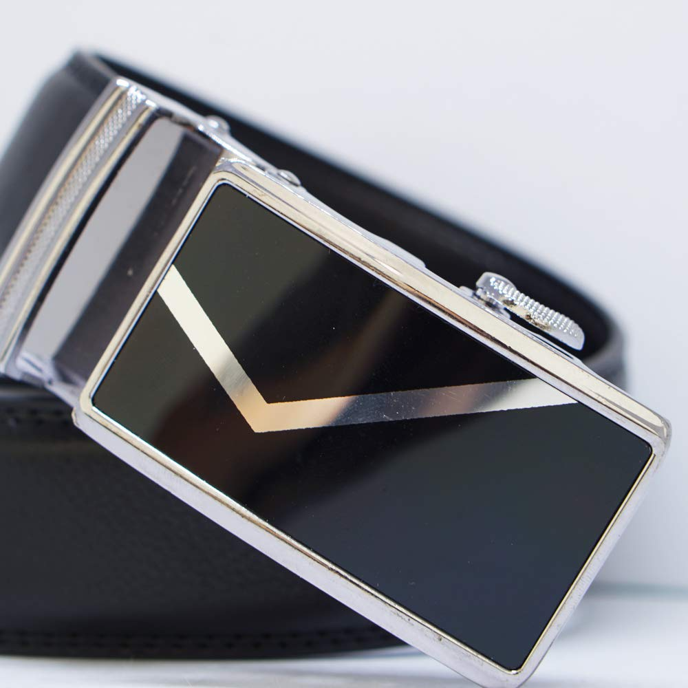 MB16-BL Automatic Buckle Men Belt BLACK Behnaz Pucci Leather