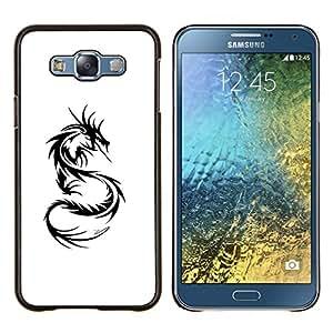 Eason Shop / Premium SLIM PC / Aliminium Casa Carcasa Funda Case Bandera Cover - Decal Negro Blanco Monster Tattoo - For Samsung Galaxy E7 E700