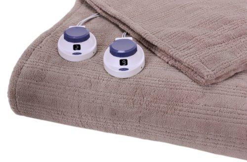 Serta Luxurious Low-Voltage Electric Heated Micro-Plush Triple-Rib King Blanket, Ivory