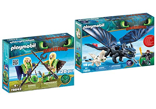 Playmobil Ruffnut and Tuffnut with Flight Suit and Hiccup and Toothless with Baby Dragon]()