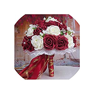 Wedding Bouquet Handmade Flowers Decorative Artificial Rose Flowers Pearls Bride Bridal Accents Wedding Bouquets 14