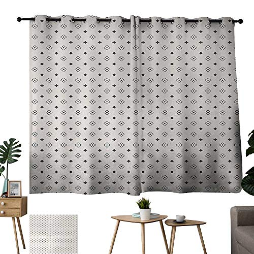 Navy Blue Curtains Geometric,Old Fashioned Wallpaper Design with Floral Like Geometrical Icons Art,Charcoal Grey Beige 54