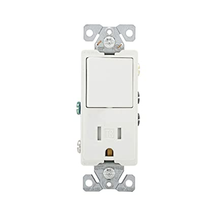 eaton wiring tr7730w 15-amp 3-wire tr receptacle 120-volt decorator  combination single-pole switch with 2-pole, white - electrical outlet  switches - amazon