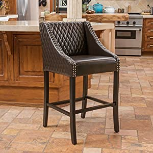 Amazon Com Larue Brown Leather Backed Barstool Kitchen