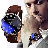 Baishitop Men's Luxury Watch Designer Watches For Men PU Leather Crocodile lines (Brown)