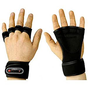 NEW Weight Lifting Gloves Fitness Gym Training Gloves Long Wrist Wrap Gloves (Black, L (for men))