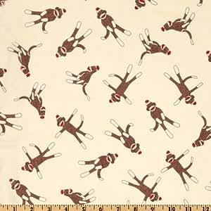 Amazon.com: Moda Funky Monkey Sock Cream Fabric By The Yard