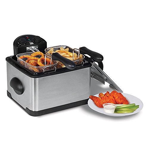 elite-platinum-edf-401t-maxi-matic-1700-watt-stainless-steel-triple-basket-electric-deep-fryer-with-