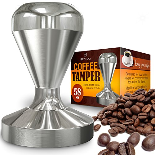Benicci Espresso Coffee Tamper, Premium Quality Stainless Steel, Solid Heavy, Barista Style, American Convex Base, (All Stainless Steel Coffee Maker)