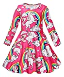 AmzBarley Unicorn Dress for Girls Long Sleeve Party Dresses Kids Sping Clothes Halloween Costumes Holiday Nightgown Age 5-6 Years Pink 120/6