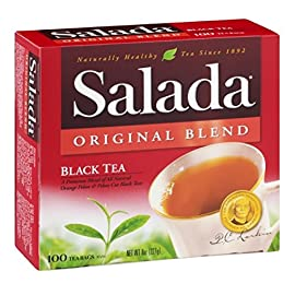Salada Black Tea, Original Blend, 100 ct 22 Recent research is leading many scientists to agree that tea may contribute positively to a healthy lifestyle. Salada Original Black Tea contains 195 mg of antioxidant flavonoids per serving! An American Tradition Since 1892. After more than a century, Salada continues to satisfy America's taste for great tea. It's the same Salada Tea you've always known, with a taste as fresh and natural as America itself.