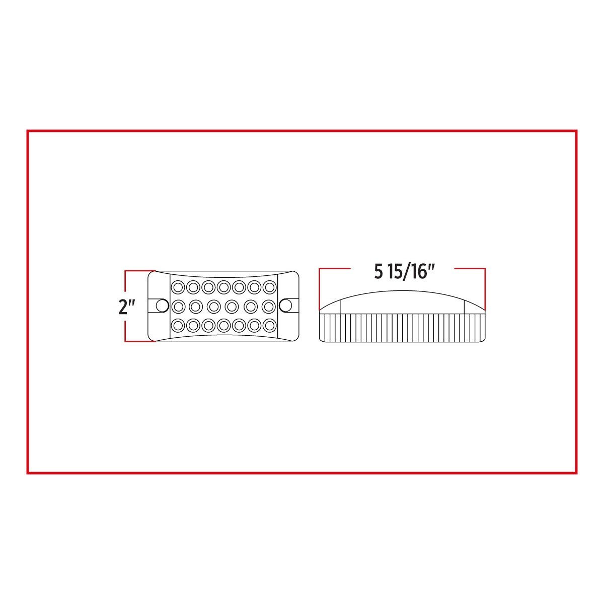 Trux Accessories LED Trailer Light Rectangular 20 Diodes 2in x 6in Model Number TLED-2X6R Red