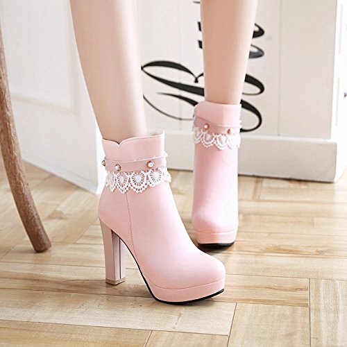 Mee Shoes Damen high heels Plateau Lace Stiefel Pink