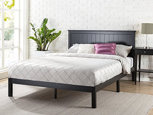 Zinus Santiago Wood Cottage Style Platform Bed with Headboard / No Box Spring Needed / Wood Slat Support, Queen