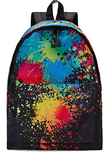 Leapparel Unisex Vintage Student Campus School Backpacks Tie-Dye Colorful Paint Black Red Green Yellow Custom Unique Casual Good Quality School Bag Outdoors Sport Hiking Daypack Perfect Gift ()
