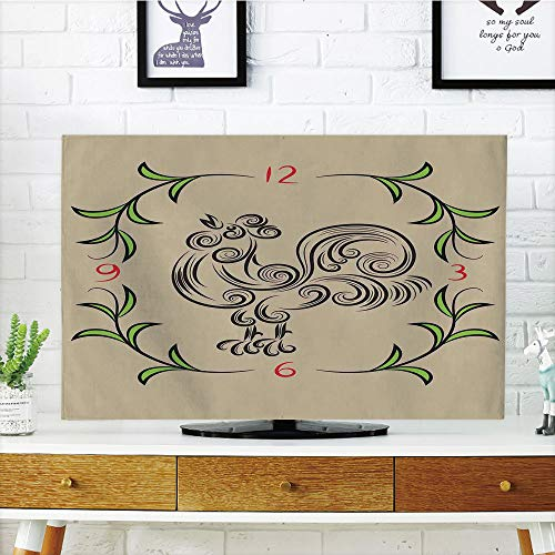 (LCD TV dust Cover Strong Durability,Kitchen Decor,Rooster and Floral Art Decorative Clock Time Swirls Leaves Farm Animal Theme Decoration,Grey Green,Picture Print Design Compatible 37
