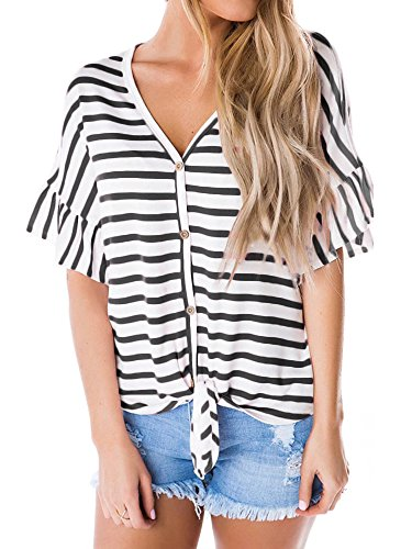 SySea Womens Hawaiian Button up Front Tie Striped Shirt Summer V Neck Short Bell Sleeve Tropical Tops, Black, (Hawaiian Short Sleeve Shorts)