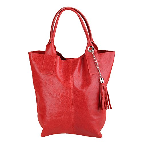 Woman Cm 39x36x20 In Leather Chicca Italy Made Handbag Borse Genuine Red Shopper 6H1q7a