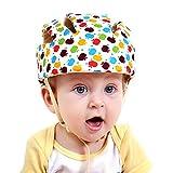 Nellmo Baby Helmet Toddler Protective Hat Infant Head Protective Cotton Hat Toddler Adjustable Safety Helmet (Apple Flower)