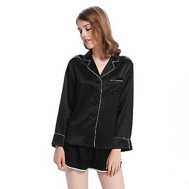 LilySilk(TM 22 Momme Women Elegant Short Silk Pajamas Set with Trimming  Black XS 9f5e1a226