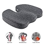 Etekcity Seat Cushion for Office Chair Car Seat Non-Slip Coccyx Orthopedic 100% Memory Foam Designed for Tailbone & Sciatica & Back Pain Relief Bamboo Charcoal Breathable Fadeless Cushion Cover
