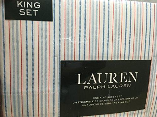Ralph Lauren 4 pc King Sheet Set Light & Dark Denim Blue & Red Stripes on White