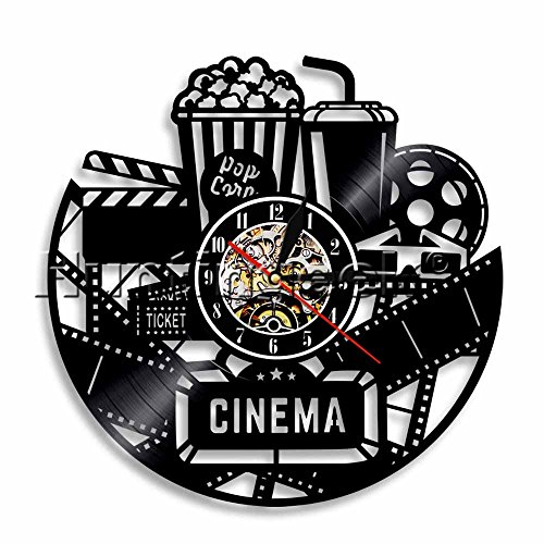 Home Theater Wall Sign Vinyl Record Wall Clock Movie Cinema