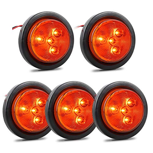 "Partsam 5Pcs 2.5 Inch Round Truck Trailer Led Clearance Side Marker Lights Amber 4LED Flush Grommet Mount Waterproof, Sealed 2.5 round led marker lights Amber, 2.5"" Round Led L marker/clearance lights"
