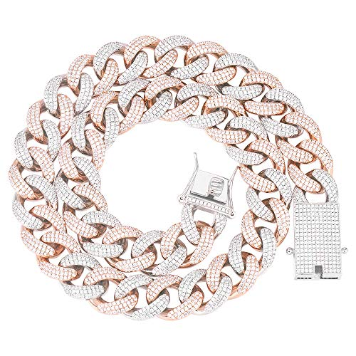 GOLD IDEA JEWELRY 18mm Iced Out Cubic Zirconia Hip Hop Miami Cuban Link Chain for Men (18, Rose Gold &White Gold)