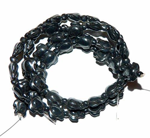 Chalk Turquoise Beads (Rockin Beads Black 15x18mm Turtle Chalk Turquoise Dyed Mix Gemstone Beads Approx 30