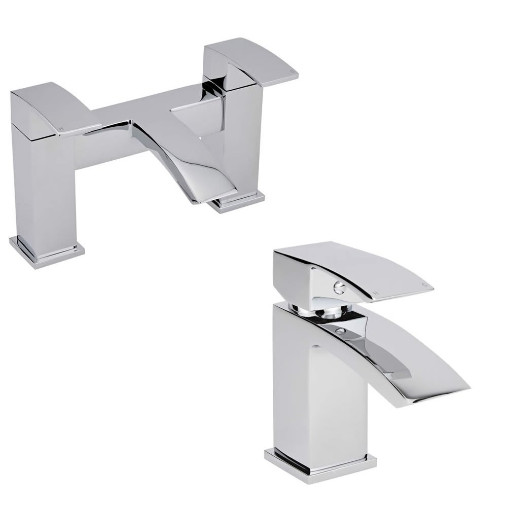 Milano Wick Bathroom Taps - Mono Basin Mixer Tap & Bath Filler Tap Set - Chrome Plated Brass - Coordinated Modern Range