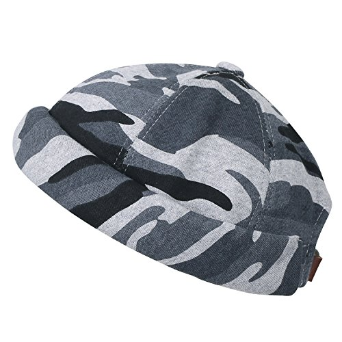 Hat Camouflage Back Casual Soft Light Beanie Short ililily Pattern Cap Cotton Grey Strap qZdHR88x