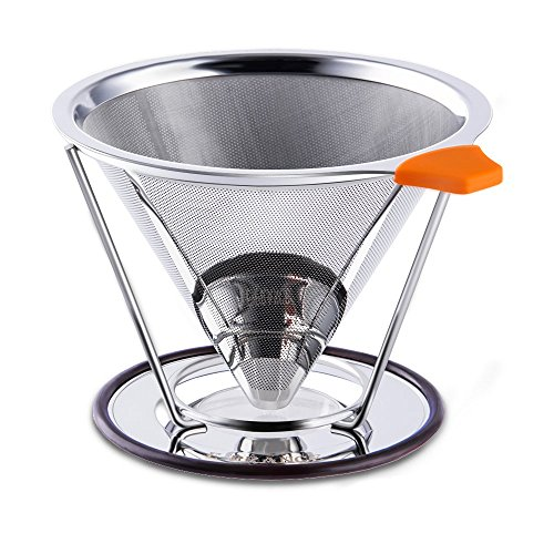 E-PRANCE Pour Over Coffee Filter, Clever Cone Coffee Dripper Paperless, Permanent 18/8 (304) Stainless Steel double mesh Pour Over Coffee Maker with Stand for 1-4 cups (Best Sellers In Washing Machines compare prices)