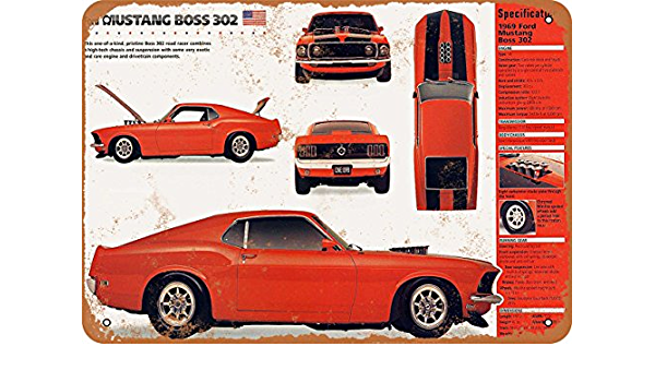 Vintage Look Reproduction Metal Sign 1969 Ford Mustang Boss 302