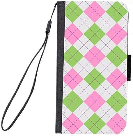 Rikki Knight Premium PU Wallet Flip Case with Kickstand & Magnetic Flap for iPhone 7 - Pink Green Argyle on - Argyle Purse