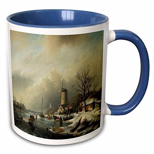 3dRose BLN Scenes of Winter Fine Art Collection - Winterlandschap met Figuren by Jan Jacob Spohler Windmill Landscape - 15oz Two-Tone Blue Mug (mug_175482_11) ()