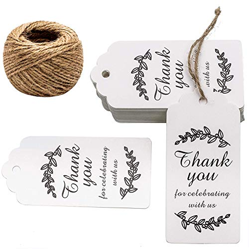 (Paper Gift Tags Thank You for Celebrating with Us, Whaline 100 Pcs Paper Hang Tag for Wedding Party Favors, Baby Shower with 100 Feet Natural Jute Twine (Leaves)