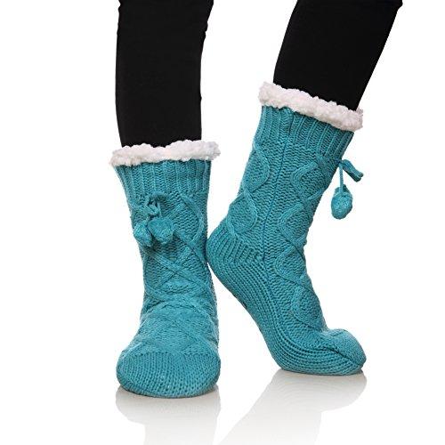 YEBING Women's Cable Knit Super Soft Warm Cozy Fuzzy Fleece-lined Winter Slipper Socks (Light Blue) (Socks Kids Woven)