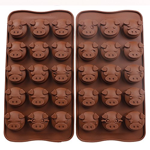 Chocolate Pig - Webake Silicone Chocolate Molds Piggy Face Emoticons Candy Molds for Jello, Fondant, Hard Candy, Keto Fat Bombs, Resin, Pack of 2