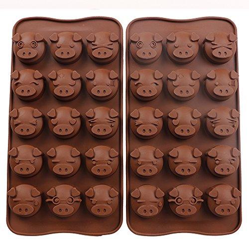 Webake 2 Pack Silicone Chocolate Molds, 15 Cavity Candy Molds, Mold for Chocolate (Pig shape) (Pig Chocolate Mold)
