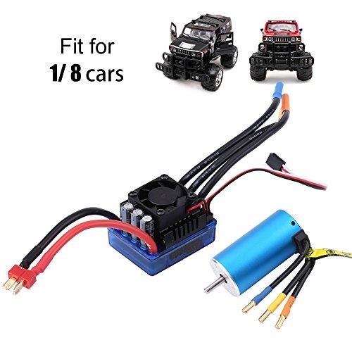 4 Poles Sensorless 3674 Motor + 120A Electronic Speed Controller for 1/8 RC car ()