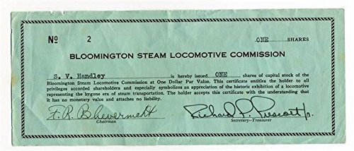 (Bloomington Steam Locomotive Commission Stock One Share Certificate)