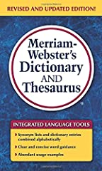 Two essential language references integrated into one handy mass-market size paperback volume. This national best seller offers 60,000 alphabetical dictionary entries and 13,500 thesaurus entries including extensive synonym lists and antonym ...