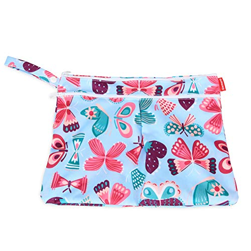 Travel Packing Organizer with Handle for Cloth Diaper Gray Strips Easy to Grab and Go Damero 2pcs Wet and Dry Cloth Diaper Bag Pumping Parts Clothes and More