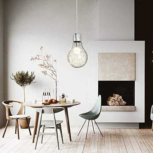 ZSPENG Modern Glass Ceiling Lamp, Metal Glass Pendant Light with 60W Bulb for Master Bedroom, Dining Room, Living Room Ceiling Lamps for Children s Room-Best Gift for Kids