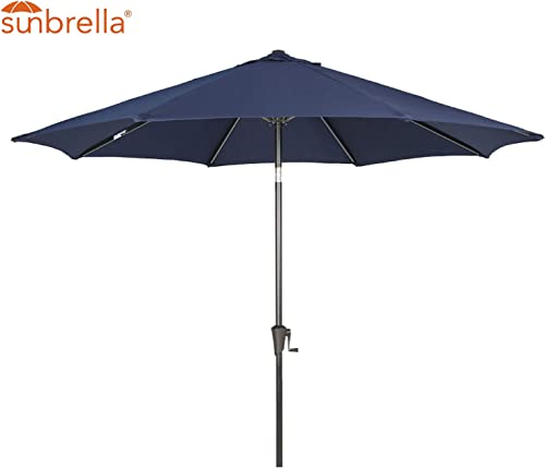 Patio Tree Outdoor Patio Sunbrella Umbrella 9-Feet Aluminum Market Table Umbrella, Canvas Navy