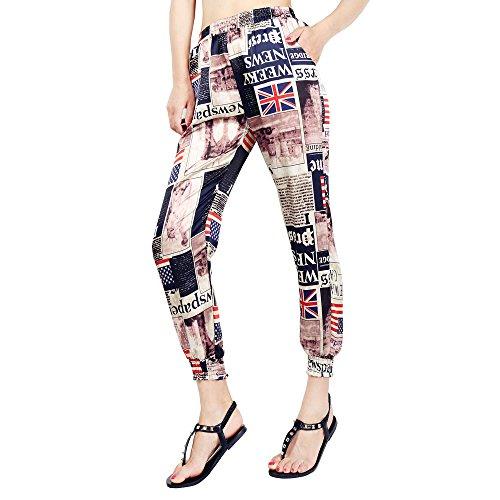 Imprimer Femme Taille Floral Hibote Ete Plage De 8 Pantalons Haute Couleur Pantalon Longueur Femmes Casual Harem 1 7 t5xq7xHPw