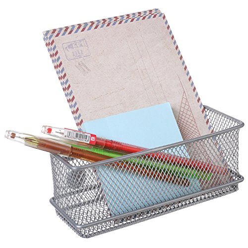 MyGift Modern Wire Mesh Magnetic Basket Storage Tray, Office Whiteboard Supply Organizer, Silver