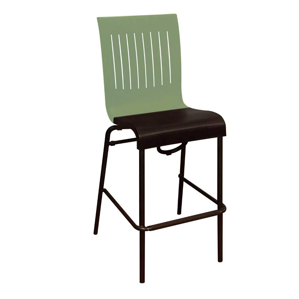 Grosfillex US929721 Viva Stacking Barstool, Sage Green Back with Charcoal Seat (Case of 8)